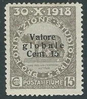 1920 FIUME VALORE GLOBALE 15 CENT SASSONE 101/I MH * - F4.2 - Fiume