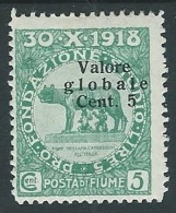 1920 FIUME VALORE GLOBALE 5 CENT MH * - F3.6 - Fiume