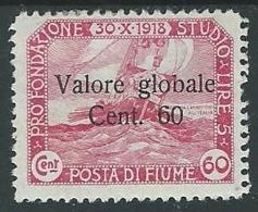 1920 FIUME VALORE GLOBALE 60 CENT MH * - F3.6 - 8. Occupazione 1a Guerra