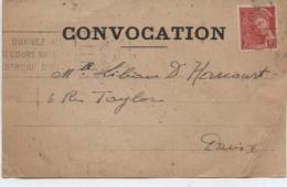 """412   MERCURE  SEUL  SUR  LETTRE  (  CARTE   """" COVOCATION """" )  (  SCANS R° V°  )  VOIR  DESCRIPTION  . - Postmark Collection (Covers)"""