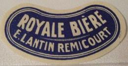 RARE ETIQUETTE  BRASSERIE E. LANTIN REMICOURT ROYALE BIERE BLEU - Bière