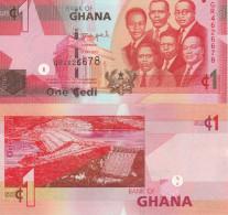 Ghana P37g?, 1 Cedi, 6 Of Country's Leaders / Akosombo Dam $4CV  See UV Image - Ghana