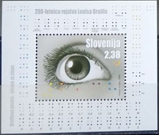 Slovenia, 2009, Mi. 706 (bl. 41), Sc. 777, SG 830, Louis Braille, Eye, MNH - Slovenia