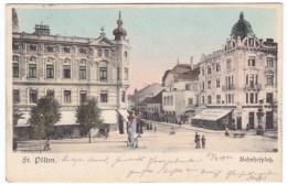 St. Poelten Pölten Austria, Bahnhofplatz Railroad Station Square, Street Scene C1900s Vintage Postcard - St. Pölten