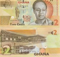 Ghana P-new, 2 Cedi, Nkrumah, Gold Bars / Parliment See UV & W/M Images, UNC - Ghana
