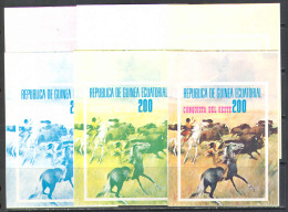 S0737 Wild West American Indians Horses Hunt 1974 Guinea Equatorial Trial Colours Proof Essay S/s MNH ** Imperf Imp With - American Indians