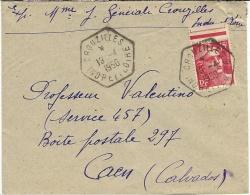 1950- Enveloppe Affr. à 15 F. Oblit. R A R Type E6  De CROUZILLES /INDRE ET LOIRE - Postmark Collection (Covers)