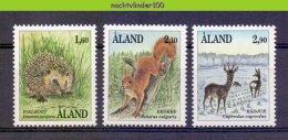 Mwe2221 FAUNA ZOOGDIEREN EEKHOORN EGEL HERT HEDGEHOG SQUIRREL DEER MAMMALS WILDLIFE ALAND 1991 PF/MNH - Wild