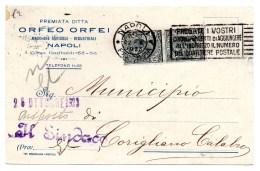 PUBBLICITARIA COMMERCIALE CARTOLINA POSTALE 1923 NAPOLI-ORFEO ORFEI - 1900-44 Victor Emmanuel III