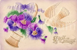 Postcard / CP / Postkaart / RELIEF / Fleurs / Flowers / Voeux Sincères / Pigeon / Made In Germany / 1911 - Sonstige