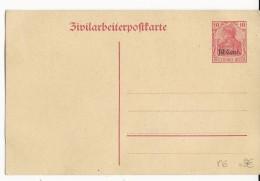 "BELGIQUE - 1916 - CARTE ENTIER Des TRAVAILLEURS CIVILS En BELGIQUE ""ZIVILARBEITERPOSTKARTE"""