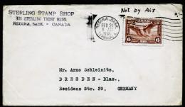 A3955) Kanada Canada Cover From Regina Sask 02/21/1938 To Germany - Briefe U. Dokumente