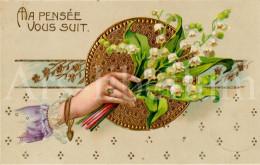 Postcard / CP / Postkaart / RELIEF / Fleurs / Flowers / Ma Pensée Vous Suit / Ed. HWB Ser. 1376 / 1914 - Sonstige