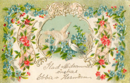 Postcard / CP / Postkaart / RELIEF / Fleurs / Flowers / Pigeons / Sweden / Made In Austria / 1916 - Sonstige
