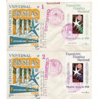 ESSPD1222STV-LFT1527.Spain,Espagne,Sobres Del 1º Dia.EXPOSICION FILATELICA NACIONAL.EXPO Bruselas.1958 (Ed 1222/3). - 1931-Hoy: 2ª República - ... Juan Carlos I