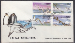 Chile 1986  Antarctic Fauna / Animals 4v FDC (29171) - Chili