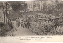 98e MARCHE PENDANT LA CAMPAGNE D ALSACE OFFICIERS VISITANT UNE LIGNE  ECRIS - War 1914-18