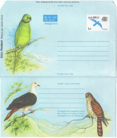 OIS-L83 - MAURICE Aérogramme Illustré Oiseaux Divers Dont Perroquet, Pigeon Et Rapace - Aigles & Rapaces Diurnes