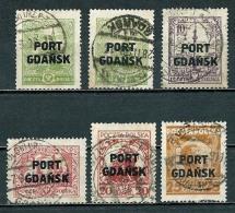 Poland Polen Pologne; Port Gdansk 1926/28, MiNr 15-18 + MiNr 19 Used - See Description - Besatzungszeit