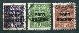 Poland Polen Pologne; Port Gdansk 1929, MiNr 20-22 Used (1) - Besatzungszeit