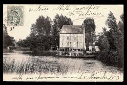 CPA PRECURSEUR- SELLES-SUR-CHER (18)- LE MOULIN DU TEIL EN 1900- BARQUE DU PASSEUR ANIMÉE- - Francia