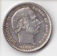 Denmark, 25 Øre, 1874 CS, 2 Scans.  Silver - Dänemark