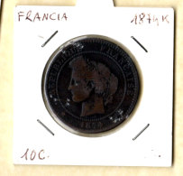 France, 10 Cents Cérès 1874 K. - France