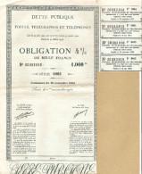 1941 DETTE PUBLIQUE POSTES TÉLÉGRAPHES ET TÉLÉPHONES OBLIGATION 4% MILLE FRANCS 1000 FR SÉRIE 0003 - Acciones & Títulos