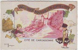 FANTAISIES. ILLUSTRATEURS . CITE DE CARCASSONNE . LANGUEDOC ROUSSILLON COMTE DE FOIX Par GASTON MARECHAUX . VIN . RUCHE - Illustratori & Fotografie