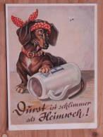 """Hund142 : Dackel """"Durst Ist Schlimmer Als Heimweh"""" - Lengauer Karte Nr. 2109 - Farbfoto - Sehr Gut Erhalten - Hunde"""