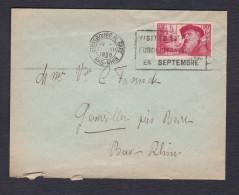 Marcophilie 344 90c + 10c Chomeurs Intellectuels Auguste Rodin Le Penseur Seul Sur Lettre Strasbourg Vers Goxwiller - Marcophilie (Lettres)