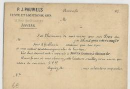 BELGIQUE - 187.. - CARTE ENTIER POSTAL Avec REPIQUAGE COMMERCIAL De ANVERS - Stamped Stationery
