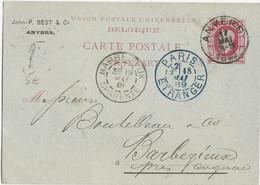 BELGIQUE - 1889 - CARTE ENTIER POSTAL Avec REPIQUAGE COMMERCIAL De ANVERS Pour BARBEZIEUX (CHARENTE) Avec ENTREE PARIS - Stamped Stationery