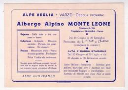 Cartolina Albergo Alpino MONTE LEONE. Alpe Veglia - VARZO - Ossona (Novara) - Pubblicitari
