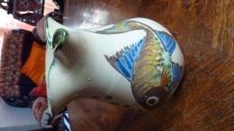 Ceramique Puigdemont Pichet Decor De Poisson - Ceramics & Pottery