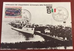 TRIESTE 1968 -  ARRIVO DEL CACCIATORPEDINIERE AUDACE  CARTOLINA  PER CINQUANTENARIO DELLA REDENZIONE - Pubblicitari