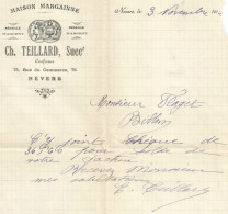 COURRIER CH. TEILLARD CONFISEUR à NEVERS (NIEVRE) 1922 - France