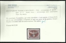 EGEO 1944 OCCUPAZIONE TEDESCA SOPRASTAMPA NERO AZZURRASTRA INSELPOST DI AGRAM DENT 13 1/2 BRUNO ROSSO MNH FIRMATO SIGNED - Egeo