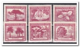 Chili 1948, 3x Postfris MNH + 3x Plakker MH, Trees, Flowers - Chili