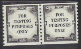 United States Test Stamps TD127 Coil Pair No Gum - Zonder Classificatie