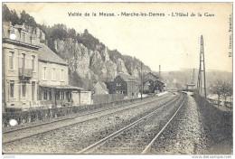 MARCHE - LES - DAMES ..-- Hôtel De La GARE . 1920 . Trous De Perforatrice !!! - Namur