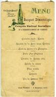 TREVOUX Menu Du Banquet Démocratique Du Congrès Radical Socialiste 1932 Ain 01 - Menus