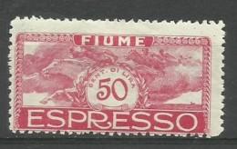 Fiume - 1920 Express Mail 50c MH *    Mi 113  Sc E3 - Fiume