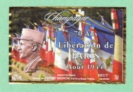 Etiquettes Champagne Mignon, Maréchal LECLERC Liberation Paris Etiquette - Champagne