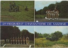 21è Régiement D'Infanterie De Marine Pièce Mortier Lourd Garde Drapeau Piquet D'honneur Sabre Clair Poste Tir Milan Jeep - Regimientos