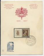 BELGIQUE - 1937 - CARTE SOUVENIR De L'EXPO PHILATELIQUE De LOUVAIN (LEUVEN) - TIMBRE Avec VIGNETTE ATTENANTE - 1934-1935 Léopold III