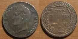 1837 - Monaco - 5 CENTIMES M C, HONORE V, KM 95.2a, Gad 102 - 1819-1922 Onorato V, Carlo III, Alberto I