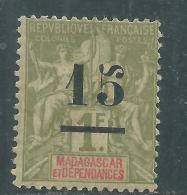 Madagascar N° 50 X  Timbre Surchargé : 15 Sur 1 F. Olive , Trace De Charnière Sinon TB - Madagascar (1889-1960)