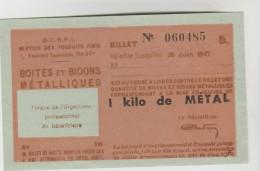 3 CARTES DE RATIONNEMENT 2° GUERRE MONDIALE 1939/45 POUR 1 Kg DE METAL BOITES ET BIDONS N°060485, 486 Et 487 - Ohne Zuordnung