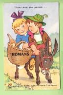 ROMANS - Carte à Système Signée Jean BRIAN - A Dos D' Ane - Dans Mon Panier  : 10 Vues - 3 Scans - Romans Sur Isere